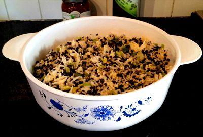 אורז ודוחן עם עדשים שחורות