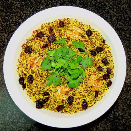 אורז בסמטי קינואה אדומה ופטריות